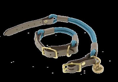 Halsband Nylon/Leer Johnson Aqua