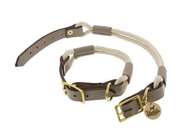 Halsband Nylon/Leer Riva Zandkleur