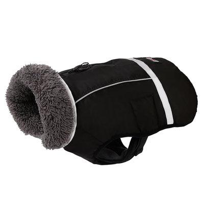 Honden winterjas zwart met warme bontkraag
